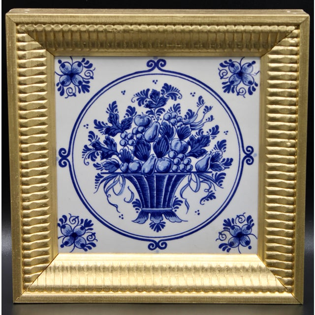 Mid 20th Century Mid-20th Century Dutch Delft Floral Gilt Wood Framed Tiles - a Pair For Sale - Image 5 of 13