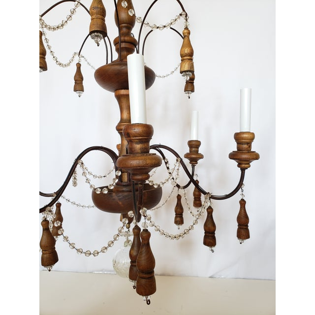 French Antique French Wood & Crystal Chandelier For Sale - Image 3 of 13