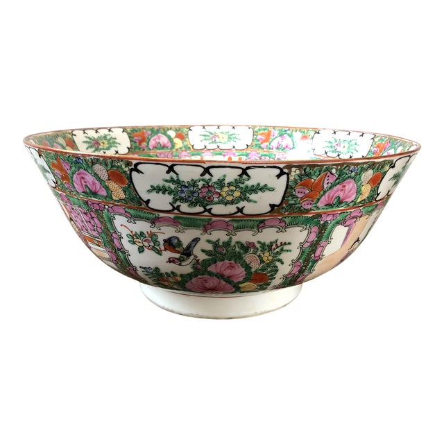Antique Chinese Rose Medallion Punch Bowl For Sale