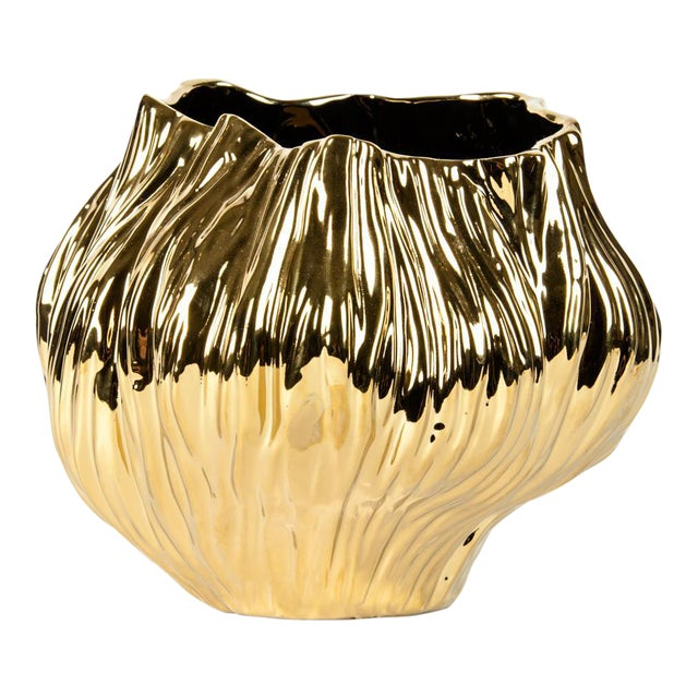 Mid-Century Gold Plated Ceramic Vase For Sale