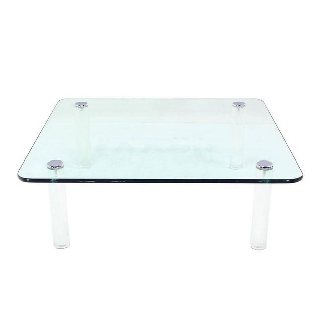 Mid-Century Modern Square Glass Top Coffee Table on Lucite Cylinder Legs For Sale - Image 6 of 8