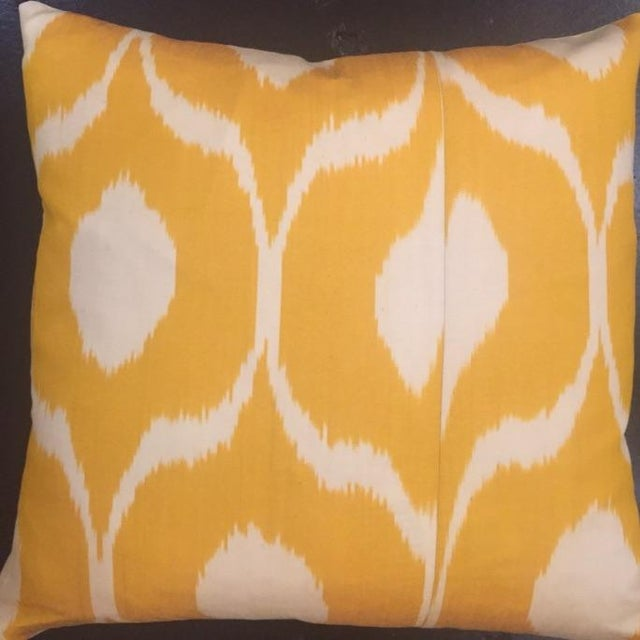 Beautiful yellow pair of hand-dyed Ikat pillows for a fabulous pop of color in any room. Each has a zipper enclosure....