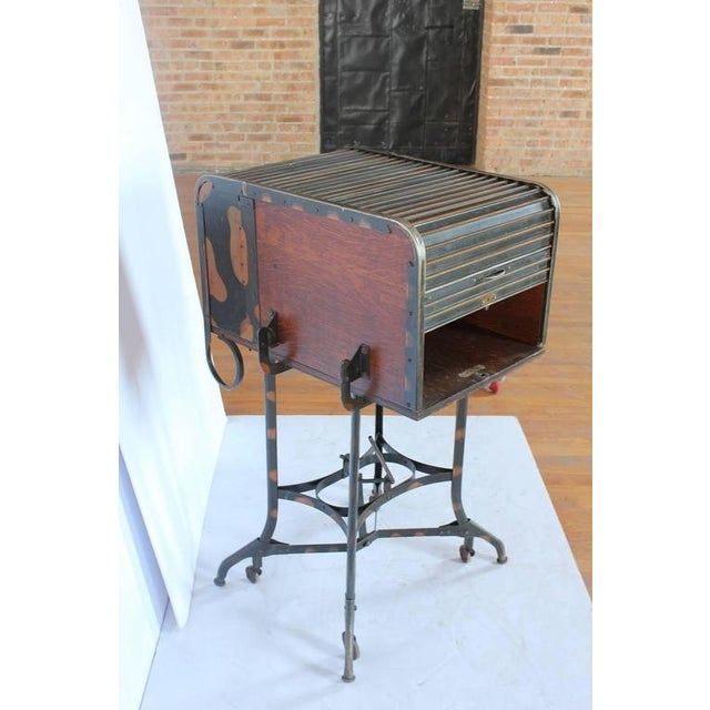 Early 1900s American Industrial Roll Top Desk/Table by Toledo - Image 4 of 6