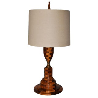 1950s Wooden Shop Art Table Lamp with Shade For Sale