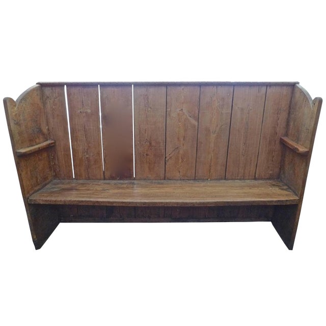 19th Century English Stained Pine Church Pew For Sale
