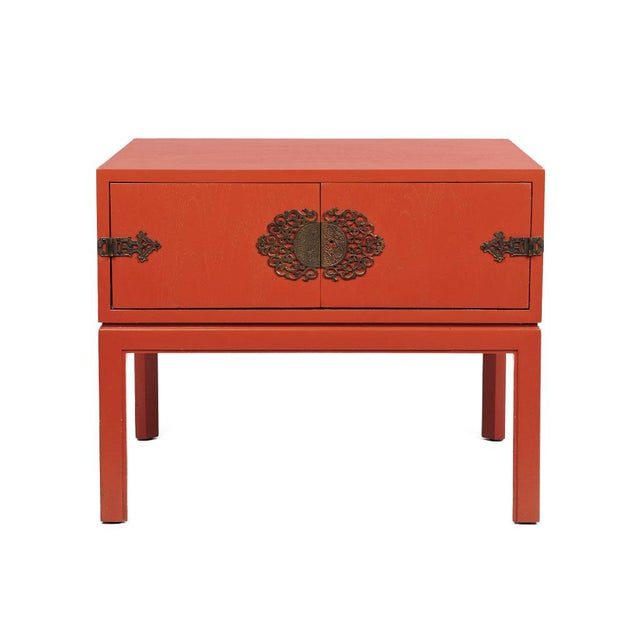 Red Lacquered Hollywood Regency Side Table - Image 8 of 8