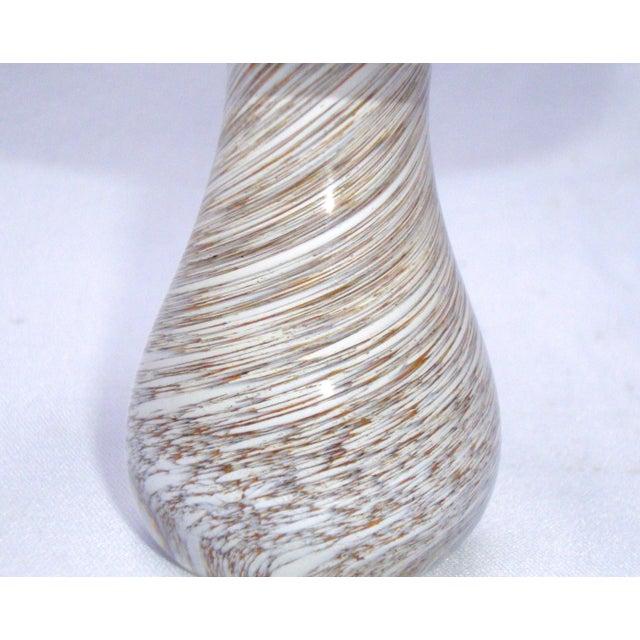 Murano Art Glass Brown White Swirl Mushroom - Image 11 of 11