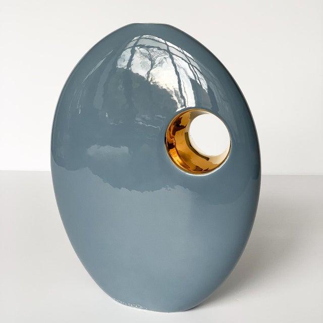 Jaru of California Jaru Blue and Gold Sculptural Ceramic Vase For Sale - Image 4 of 13