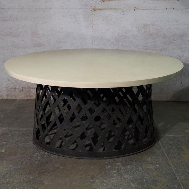 """Basket Weave Dining Table With Woven Iron Base Tapered Top To Bottom And A Painted Round Top. Dimensions: H 29.5"""" x D 60""""..."""