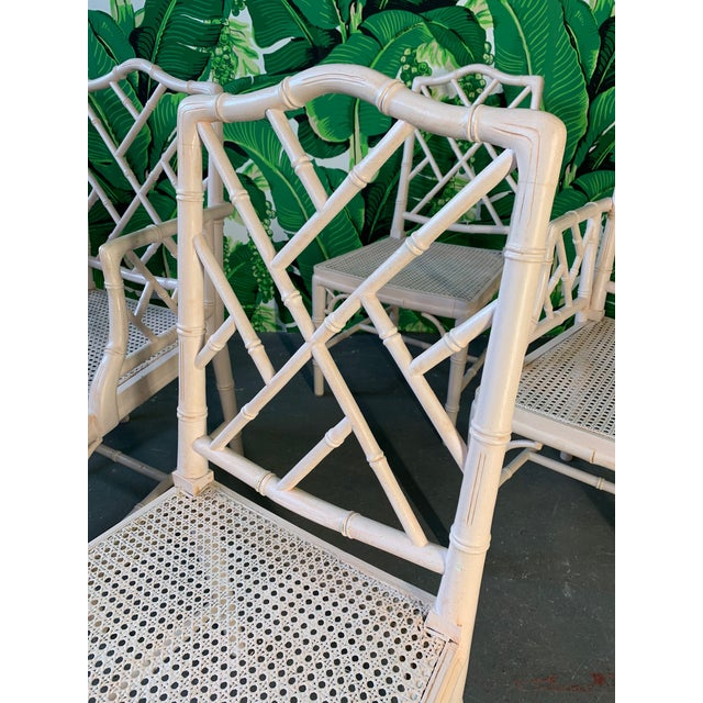 Mid-Century Modern Chinese Chippendale Faux Bamboo Dining Chairs - Set of 6 For Sale - Image 3 of 9