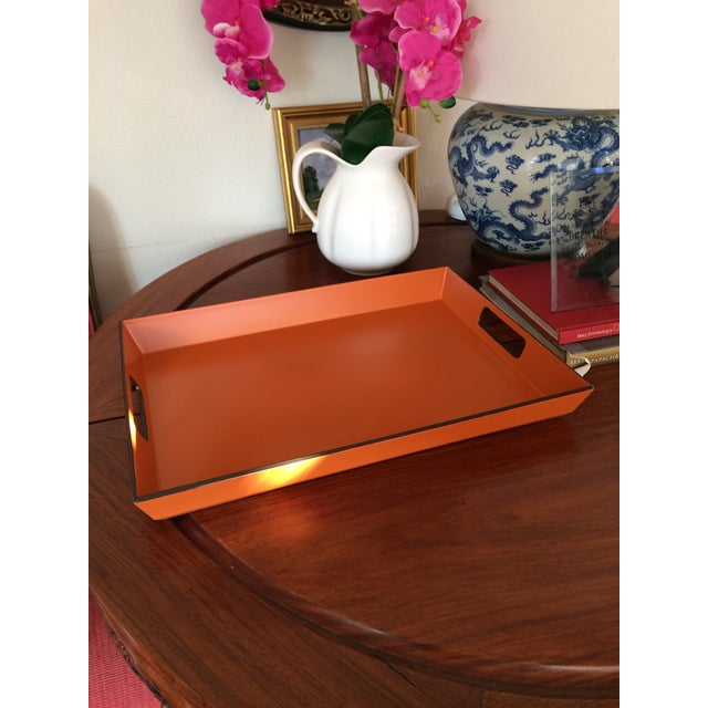 Mid Century Modern Orange and Espresso Bar Tray For Sale - Image 10 of 13