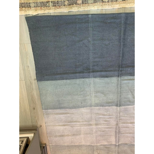 Mid-Century Modern Late 20th Century Vintage Blue Ombre Turkish Hemp Rug-5′6″ × 7′10″ For Sale - Image 3 of 11