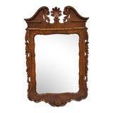Image of Chippendale Style Mahogany Shell Carved Broken Arch Wall Mirror For Sale