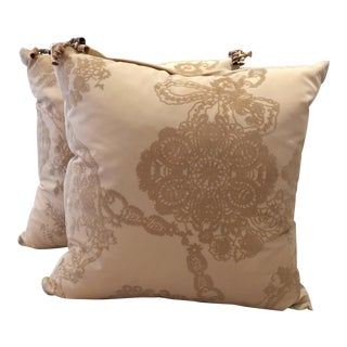 DWM | MALOOS Traditional Cream Flocked Pillows - a Pair For Sale