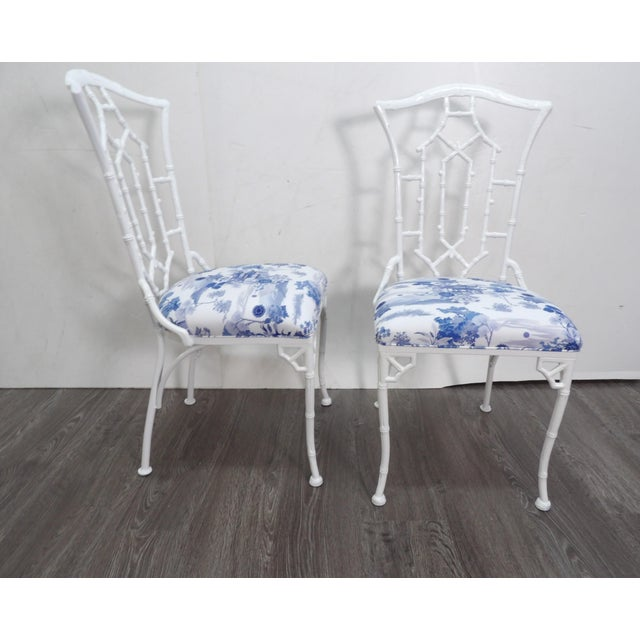 Metal Vintage Chippendale Side Chairs- a Pair For Sale - Image 7 of 8