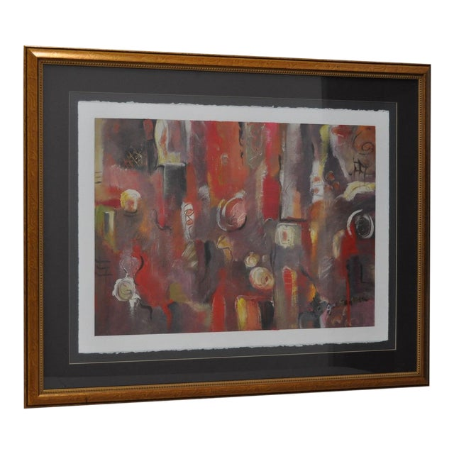 Contemporary Framed Abstract Oil on Paper - Image 1 of 8