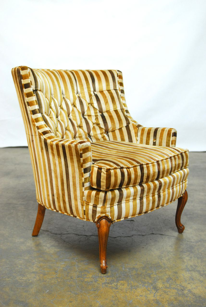 Merveilleux A Pair Of Barrel Back Club Chairs Featuring A Plush Striped Velvet  Upholstery And Made By. Mid Century Modern Silver Craft ...