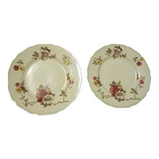 Vintage Apple Blossom Flowered Plates - Pair For Sale