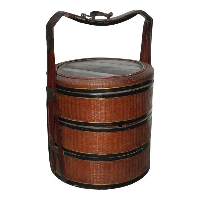 Antique Rattan Picnic Box For Sale