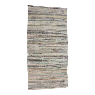 1960s Turkish Striped Rag Rug For Sale