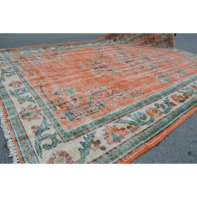 Modern Turkish Oushak Handwoven Orange Wool Floral Rug For Sale - Image 4 of 6