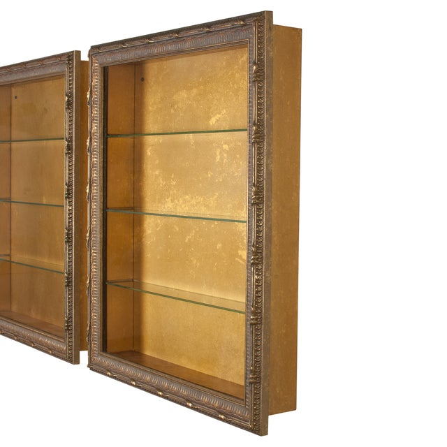 Brown Wall-Mounted Giltwood Vitrines - Pair For Sale - Image 8 of 9