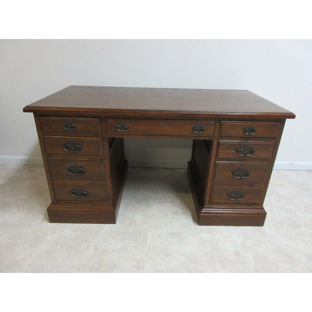 Ethan Allen Royal Charter Jacobean Carved Writing Office Desk - Image 2 of 8