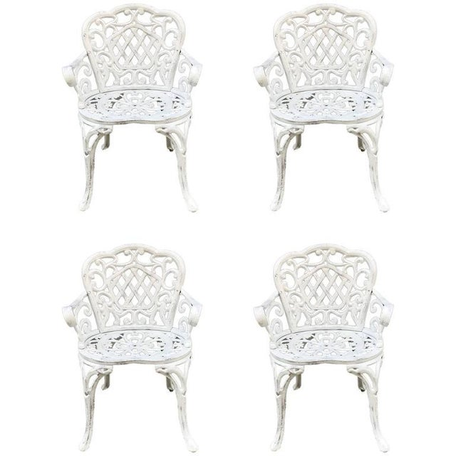 1930s Set of Four Early Cast Iron Garden Chairs For Sale - Image 5 of 5