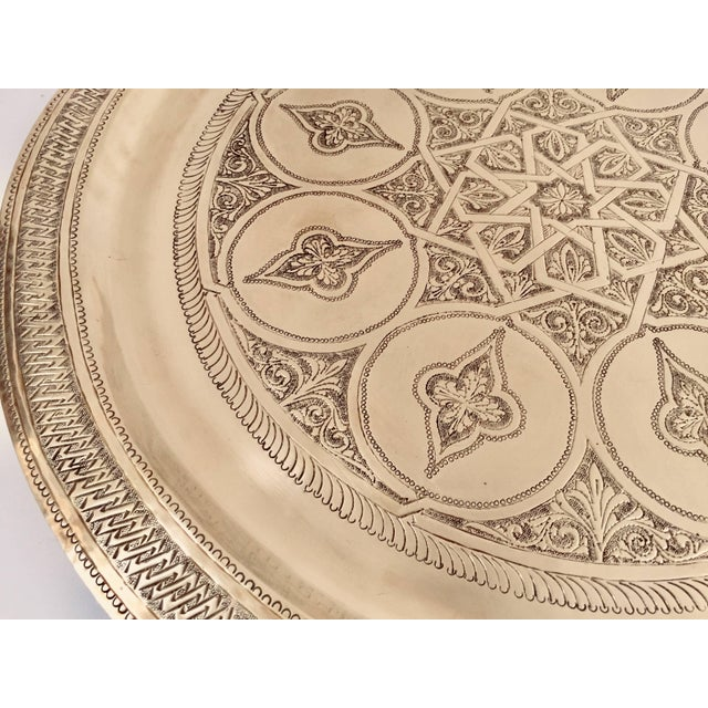 Moroccan Polished Round Brass Tray For Sale - Image 10 of 13