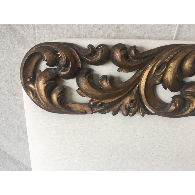 Wood Italian Upholstered Headboard With 19th C Gilt Fragment Accents For Sale - Image 7 of 11