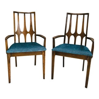 Midcentury Modern Broyhill Brasilia Sculpted Walnut Captain's Chairs - a Pair For Sale