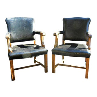 1940s Vintage Arm Library Accent Chairs- A Pair For Sale