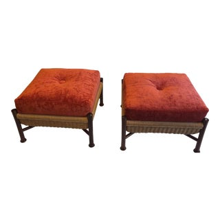 McGuire Upholstered Walnut Ottomans - A Pair For Sale