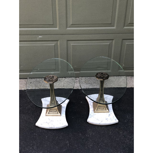 Hollywood Regency Mid Century Glass Top Marble Base Hollywood Regency Italianate End Tables - a Pair For Sale - Image 3 of 10