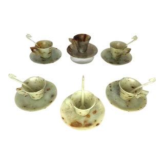 1910s Antique Chinese Jade Teacup Set - 17 Pieces For Sale