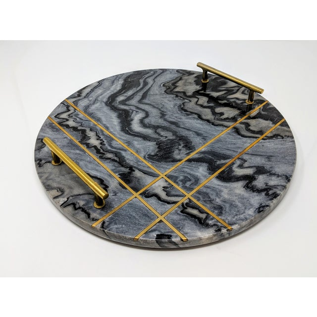 Gray Marble and Brass Circular Tray For Sale - Image 12 of 13