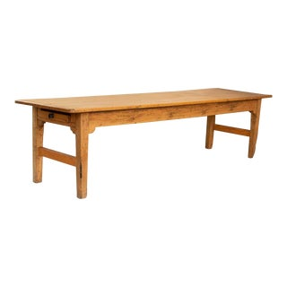 Antique Farmhouse Long 10' Pine Dining Table For Sale