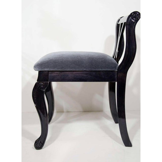 Pair of Art Deco Vanity Chairs in Mohair and Ebonized Walnut For Sale - Image 4 of 10