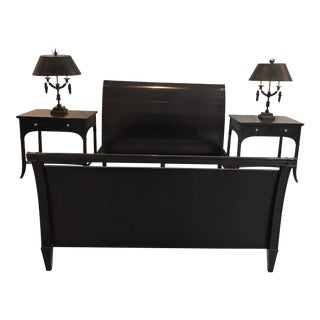 Barbara Berry Modern Mahogany Sleigh Bed For Sale
