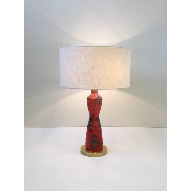 Italian Ceramic and Brass Table Lamp by Bitossi - Image 9 of 9