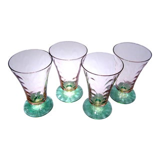 1930s Art Nouveau Watermelon Glass Footed Tumblers - Set of 4