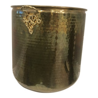 Solid Brass Hammered Planter For Sale