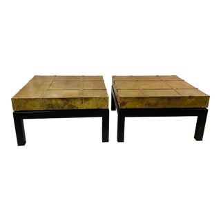Pair of Sarreid Brass Asian Modern End Tables For Sale