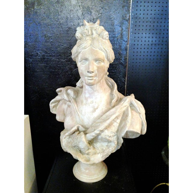 One Pair of Continental Terra Cotta Cast Metal Busts For Sale - Image 4 of 9