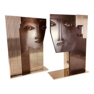 Vintage Monumental Art Deco Man & Woman Sculptural Postmodern Vases After Franz Hagenhauer - a Pairg For Sale