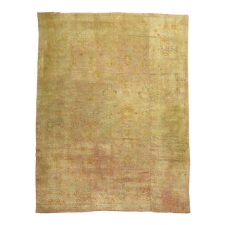 Distressed Oversize Pale Antique Peach and Pink Oushak Rug, 10'7'' X 15'5'' For Sale