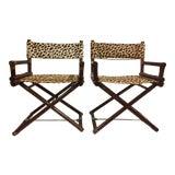 Image of 1980s Vintage McGuire Leopard Print Campaign Directors Chairs- a Pair For Sale