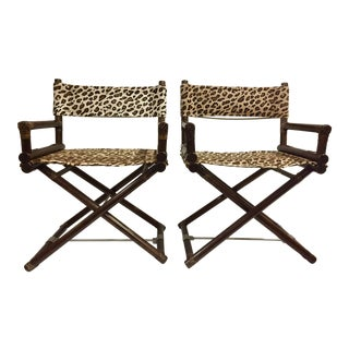 1980s Vintage McGuire Leopard Print Campaign Directors Chairs- a Pair For Sale
