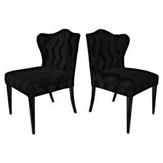 Black Mohair Wingback Chairs - A Pair For Sale