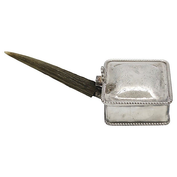 Early 20th Century Vintage Stag Horn & Silver-Plate Silent Butler For Sale - Image 5 of 5